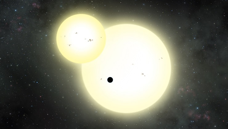 The Kepler-1647b planet and secondary star transiting the primary star.