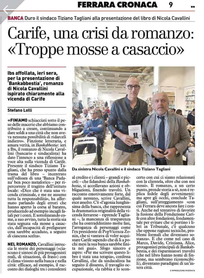 articolo presentazione IBS Libraccio di Ferrara