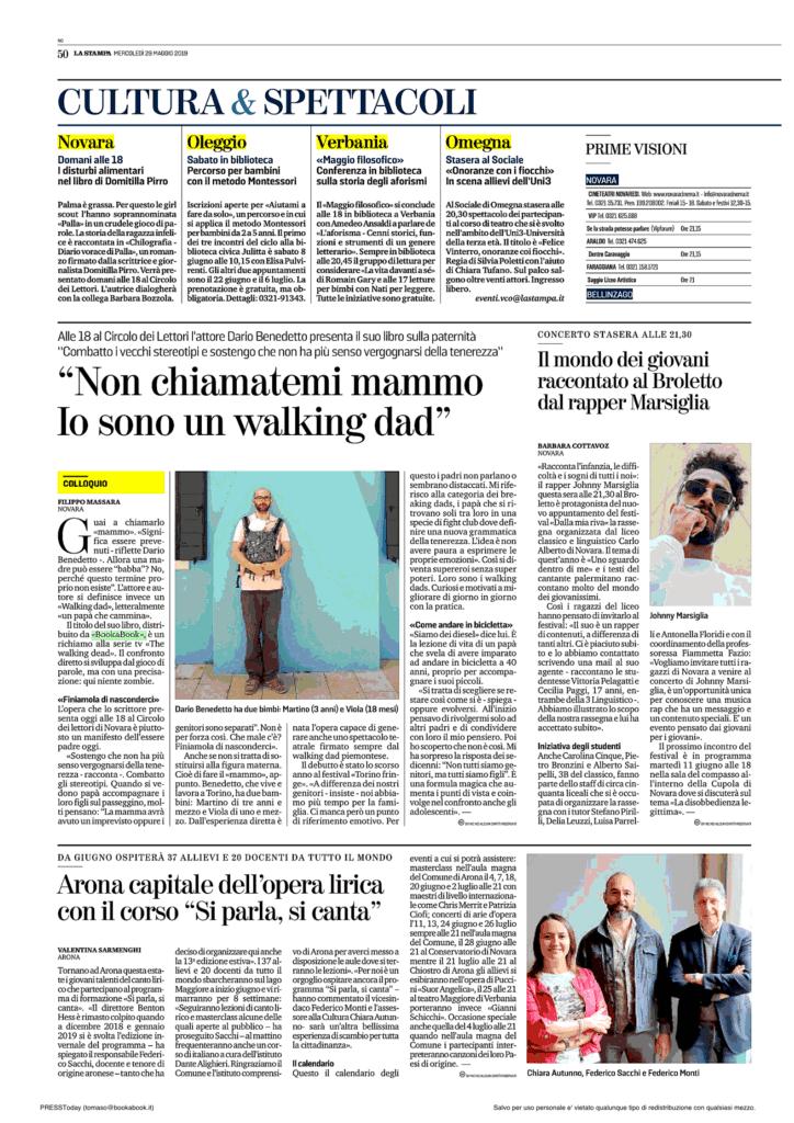 La Stampa Edizione Novara l'intervista al nostro autore Dario Benedetto