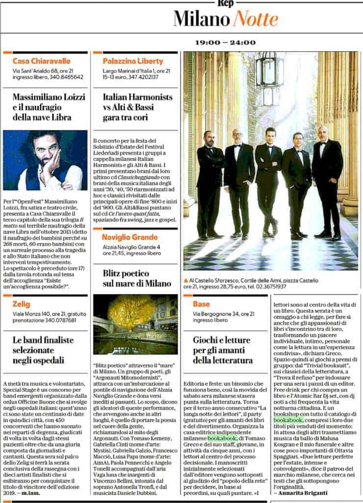 La Repubblica intervista Tomaso Greco