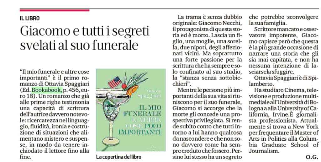 Gazzetta di Modena la recensione del libro Il mio funerale e altre cose poco importanti