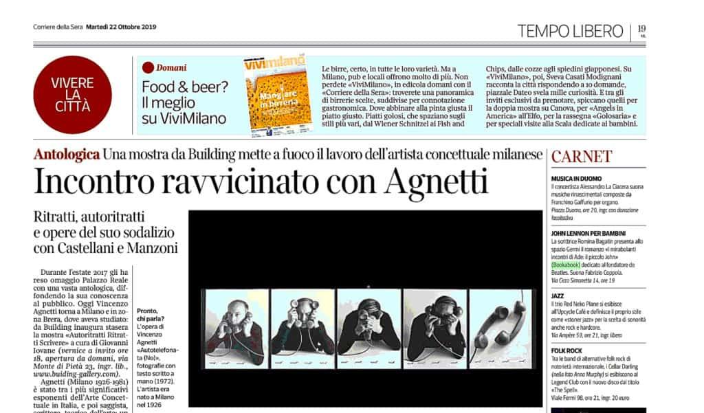 Corriere della Sera segnalazione della presentazione del libro I mirabolanti incontri di Ade