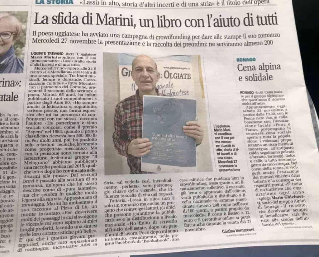 giornale di Olgiate lancio della campagna di crowdfunding di Mario Marini