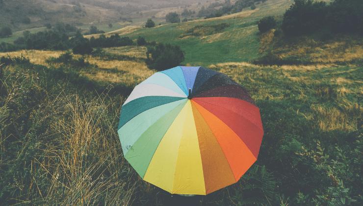 Due uomini, un ombrello e una valigia.