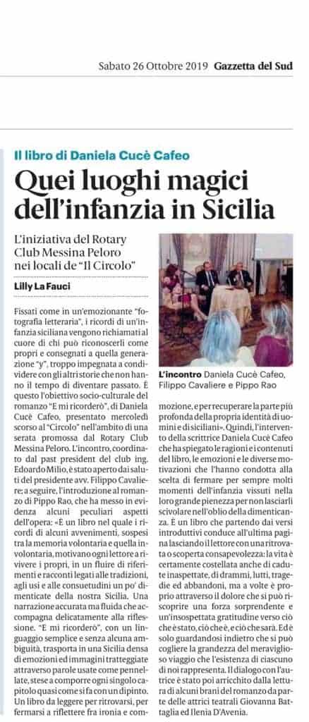 Articolo di Lilly La Fauci sull'incontro con l'autrice organizzato dal Rotary Club Messina Peloro