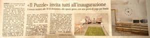 articolo di giornale riguardante l'inaugurazione della ludoteca